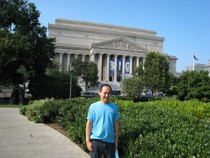 Kevin in front of Archives of USA